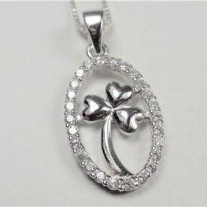 Jewelry - STERLING SILVER SPARKLING IRISH SHAMROCK NECKLACE